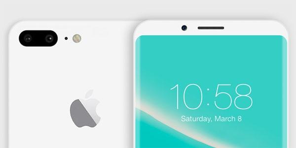 Mẫu iPhone 8 Jet Whitecó màu trắng bóng, viền màn hình được dát cong, mặt sau có camerra kép.