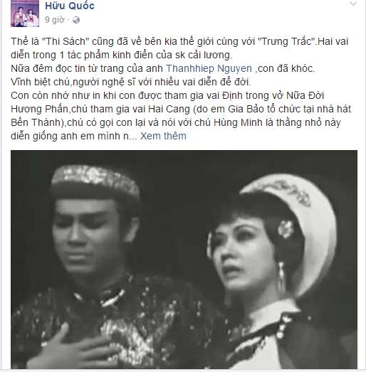 Sao Việt bàng hoàng đau xót trước sự qua đời của NSƯT Thanh Sang - Tin sao Viet - Tin tuc sao Viet - Scandal sao Viet - Tin tuc cua Sao - Tin cua Sao