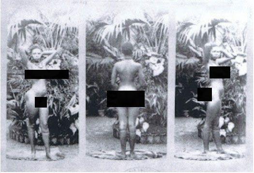 Cô gái trong bức ảnh là Sarah Baartmantrong tình trạng không mảnh vải che thân. Sau khi chết, xác của cô được đem vào trưng bày tại Viện bảo tàng Nhân loại cho đến năm 2002 khi Nelson Madela yêu cầu dẹp bỏđể tôn trọng nhân quyền.