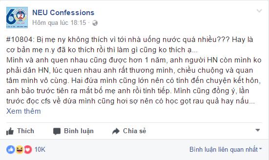 Câu chuyện được cô gái chia sẻ trên diễn đàn NEU Confessions. (Ảnh: Chụp màn hình)