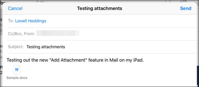 Bạn có thể thêm nhiều tệp đính kèm trên ứng dụng Mail. (Ảnh minh họa)