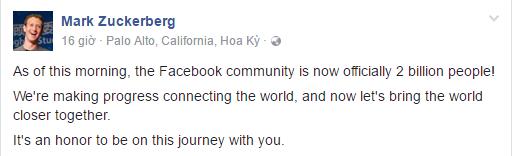 Ông chủ của Facebook chia sẻ niềm vui, lẫn tự hàotrên trang cá nhân của mình.