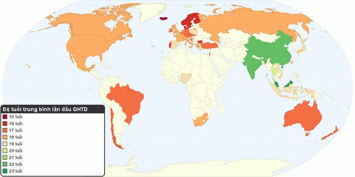 Độ tuổi trung bình lần đầu quan hệ tình dục trên thế giới theo điều tra của Durex vào năm 2016. Bản đồ: Minh Trí.