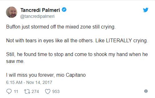 """Chia sẻ của một phóng viên thể thao CNN:""""Buffon đã khóc nhưng giọt nước mắt của anh không phải là những giọt nước bình thường mà nó giống như một tác phẩm văn học... Tôi sẽ mãi nhớ anh, người đội trưởng."""""""