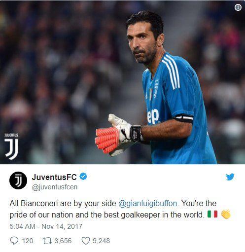 """CLB chủ quản của Buffon làJuventuscũng không quên ca ngợi Buffon:""""Chúng tôi đang ở bên cạnh anh- Gianluigi Buffon. Anh là niềm tự hào của đất nước và là thủ môn xuất sắc nhất thế giới."""""""