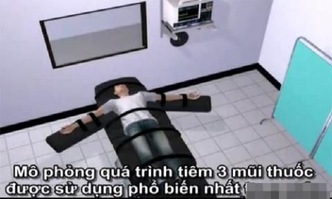 Phạm nhân nằm ngửa, được cố định chặt ở trên giường