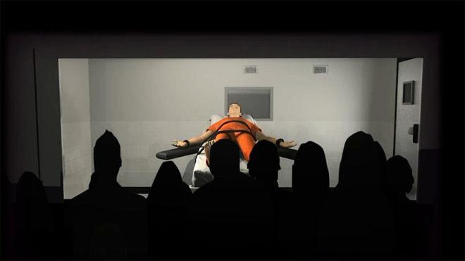 Cán bộ tiến hành thi hành ánsẽ cùng lúc bấm nútnhưng trong đó chỉ có một nút bấm có tác dụng tiêm thuốc cho tử tù