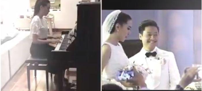 Khoảnh khắc đẹp khi cô tiến vào lễ đường cùng chồng được Mai Ngọc lồng ghép trong clip đàn piano nhân dịp 1 năm ngày cưới mà ít người biết đến trước đó.