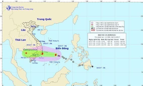 Hướng di chuyển của bão số 14 (Ảnh: Trung tâm dự báo KTTVTW)