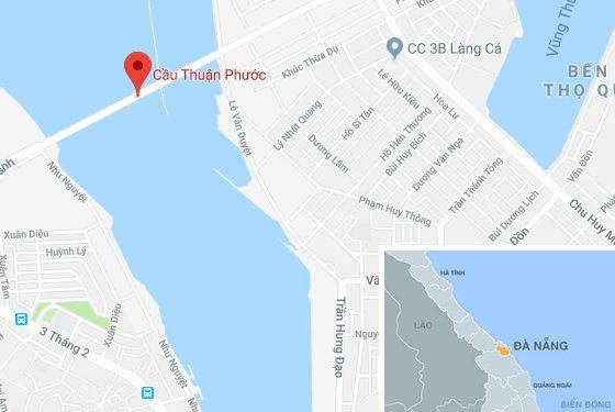 Cầu Thuận Phước, địa điểm xảy ra vụ việc. Ảnh: Google Maps.