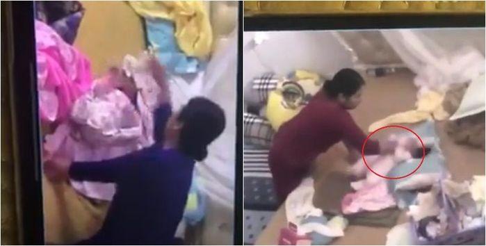 Phẫn nộ clip người giúp việc tát, đập đầu và tung trẻ sơ sinh lên cao:  Công an vào cuộc điều tra