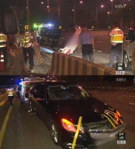 Hiện trường vụ tai nạn của Seungri với chiếc xe bị lật nhào và kéo lê.