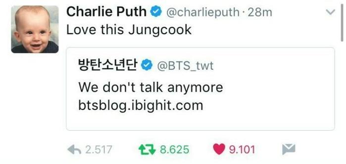 Gửi tin nhắn mà không được BTS hồi đáp, đây chính là phản ứng của Charlie Puth