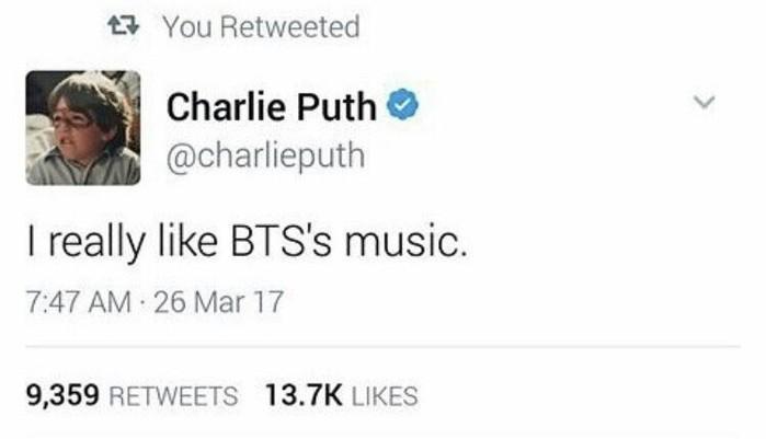 Charlie Puth và BTS thường xuyên bày tỏ niềm yêu thích cho nhau trên mạng xã hội.