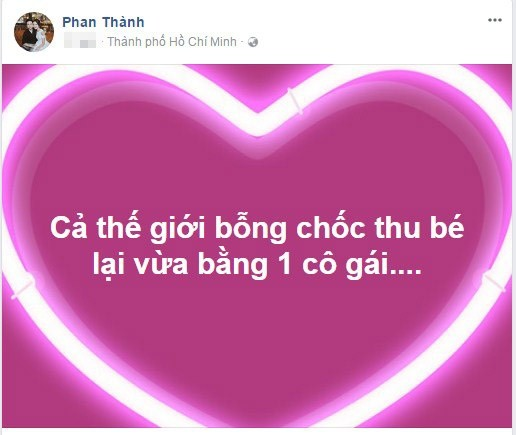 Đại gia Phan Thành bất ngờ đăng status lãng mạn xem Primmy Trương là cả thế giới nhỏ của mình