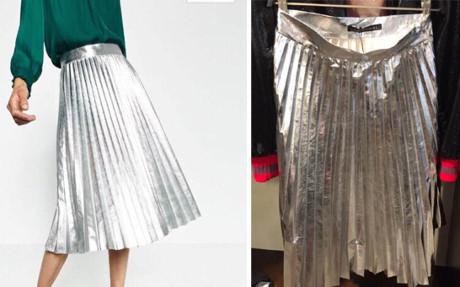 Một bên là chân váy ánh kim đẹp long lanh, còn một bên chắc hẳn là… giấy gói kẹo?