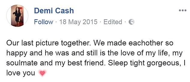 Cô bạn gái Demi bày tỏ sự đau xót của mình khi mất đi bạn trai