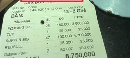 Hóa đơn lên tới 9 triệu đồng khiến các nhân viên một phen khốn đốn.(Ảnh: Hóng)