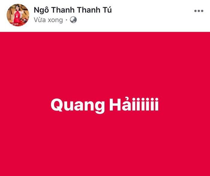Á hậu Thanh Tú dù đang có mặt tại Thường Châu - Trung Quốc nhưng cô vẫn gọi tên cầu thủ mang số áo 19 - Quang Hải. - Tin sao Viet - Tin tuc sao Viet - Scandal sao Viet - Tin tuc cua Sao - Tin cua Sao