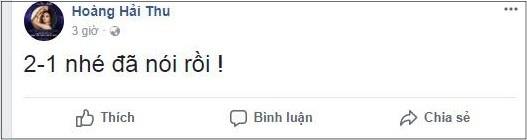 Dòng trạng thái của Hoàng Hải Thu ngay sau trận Chung kết của U23 Việt Nam khiến cô bị chỉ trích dữ dội. - Tin sao Viet - Tin tuc sao Viet - Scandal sao Viet - Tin tuc cua Sao - Tin cua Sao