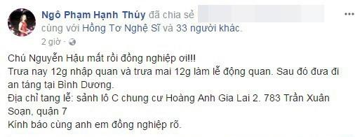 Diễn viênHạnh Thúybàng hoàng bất ngờthông báo tin diễn viên Nguyễn Hậu qua đời. - Tin sao Viet - Tin tuc sao Viet - Scandal sao Viet - Tin tuc cua Sao - Tin cua Sao