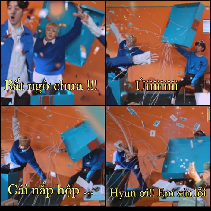 Ở một phiên bản khác: Hyun ơi số anh nhọ thế này thì chỉ tạo điều kiện cho bọn emchụp lại và cười anh thôi. Ảnh:Pinkkang - Kang Daniel 1st VietNam Fanpage