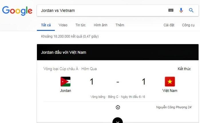 Google Search nhầm lẫn người ghi bàn cho ĐT Việt Nam.