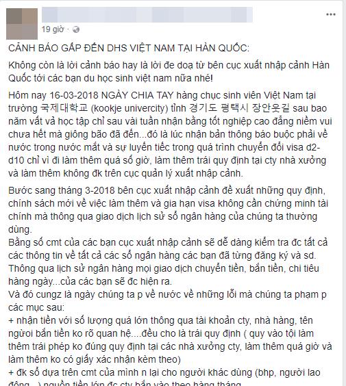 Thông tin hoàng loạt du học sinh Việt tại Hàn bị buộc về nước gây hoang mang cộng đồng mạng (Ảnh chụp màn hình)