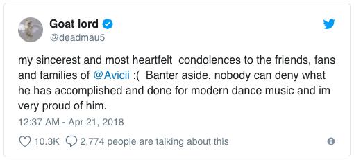 """DJ Deadmau5 gửi lời chia buồn: """"Tôi gửi lời chia buồn chân thành và sâu sắc nhất đến bạn bè, fan và gia đình của Avicii. Không một ai có thể phủ nhận được những gì mà anh ấy đã làm được cho nền âm nhạc dance hiện đại và tôi rất tự hào về anh ấy""""."""