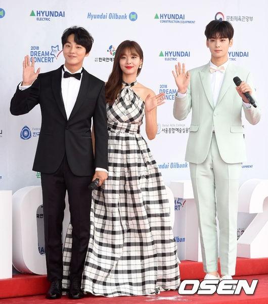 Nữ diễn viênSeol In Ah gây ấn tượng với báo giới bởi cô nàng diện hẳn một chiếc đầm dài như dạ hội, khác hẳn với các nữ idol xuất hiện phía trước.Yoon Shi Yoon vàCha Eun Woo trong hai màu vest khác nhau giúp hai anh chàng đều có thể nổi bật theo cách riêng của mình.