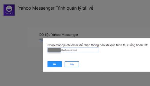 Dữ liệu của người dùng sẽ được gửi đến email.