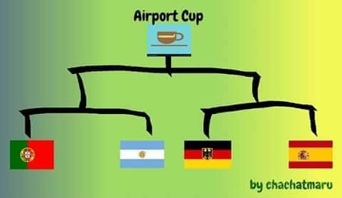 """Mới chỉ có Đức, Argentina và Bồ Đào Nha thì chưa thể hình thành giải đấu cúp """"tứ hùng"""" thi đấu ở sân bay được. Đành phải rủ rê thêm Tây Ban Nha gia nhập vậy!"""