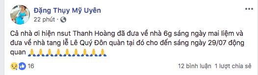 Mỹ Uyên thông báo cho bạn bè thông tin tang lễ trên trang cá nhân của mình. - Tin sao Viet - Tin tuc sao Viet - Scandal sao Viet - Tin tuc cua Sao - Tin cua Sao