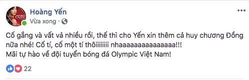 """Hoàng Yến Chibi chia sẻ giây phút tiếc nuối: """"Cố gắng và vất vả nhiều rồi, thế thì cho Yến xin thêm cả huy chương Đồng nữa nhé.Cố tí, cố một tí thôi nha.Mãi tự hào về đội tuyển bóng đá Olympic Việt Nam"""". - Tin sao Viet - Tin tuc sao Viet - Scandal sao Viet - Tin tuc cua Sao - Tin cua Sao"""