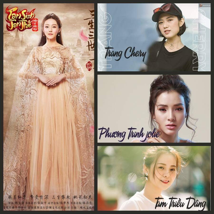 3 nữ diễn viên được đề cử cho vai Tố Cẩm gồm: Trang Cherry, Phương Linh Jolie và Tam Triều Dâng.(Nguồn ảnh:Tam Sinh Tam Thế Thập Lý Đào Hoa).