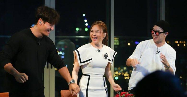 Mỹ Tâm và bộ đôi Running Man trong buổi hợp tác1 show truyền hình thực tế.