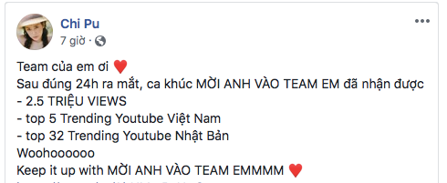 Fanpage chính thức của Chi Pu đã vui mừng chia sẻ điều này trên trang cá nhân.