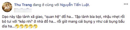 Ấm ức vì Tiến Luật ham vui bỏ bê, Hoa hậu hài Thu Trang đăng đàn dằn mặt - Tin sao Viet - Tin tuc sao Viet - Scandal sao Viet - Tin tuc cua Sao - Tin cua Sao