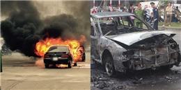 Hà Nội: Lửa bốc cháy dữ dội thiêu rụi chiếc xe ô tô 4 chỗ