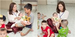 Hoa hậu Thu Hoài xúc động khi cùng con trai út đi từ thiện