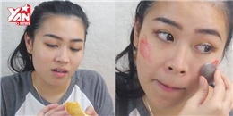Cô gái trang điểm bằng dầu ăn và nhiều thực phẩm khác gây sốt