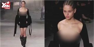 Dàn người mẫu tuần lễ thời trang khoe ngực trần trên sàn catwalk