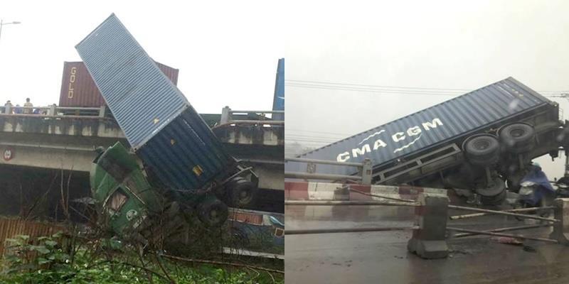 Tai nạn liên hoàn, container treo mình vắt vẻo ở thành cầu Thanh Trì