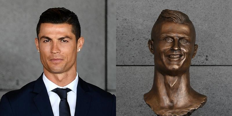 Ronaldo mặt nhăn mày nhó trước bức tượng xấu đau xấu đớn của mình