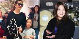 Bị chê 'phát phì', Triệu Vy vẫn mặc giản dị vui vẻ đưa con gái đi chơi