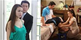 Yến Trang quỳ gối dưới sàn rửa chân cho 'ông xã'
