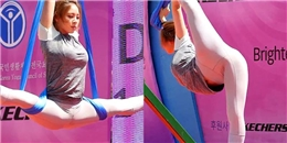 """Cô gái nóng bỏng Hàn Quốc tập yoga bay """"đốt mắt"""" người xem"""
