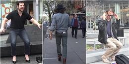Cười té ghế với thử thách mang giày cao gót trên phố của ba chàng trai
