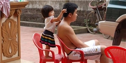 Quá dễ thương với hình ảnh em bé nhổ tóc bạc cho ba gây