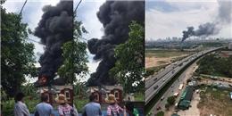 Cháy lớn tại xưởng tái chế đồ nhựa tại Hà Nội